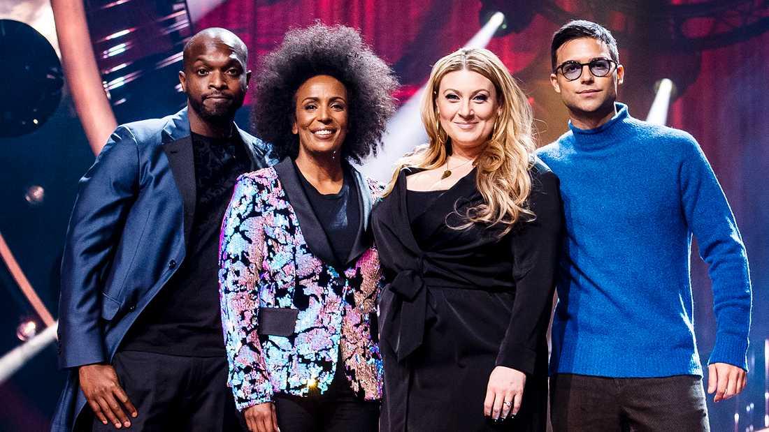Programledarna för Melodifestivalen 2019: Från vänster Kodjo Akolor, Marika Carlsson, Sarah Dawn Finer och Eric Saade.
