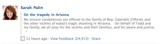 Beklagar Sarah Palin skrev på Facebook att hon ber för de drabbade.