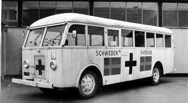 En av Bernadottes vita bussar.