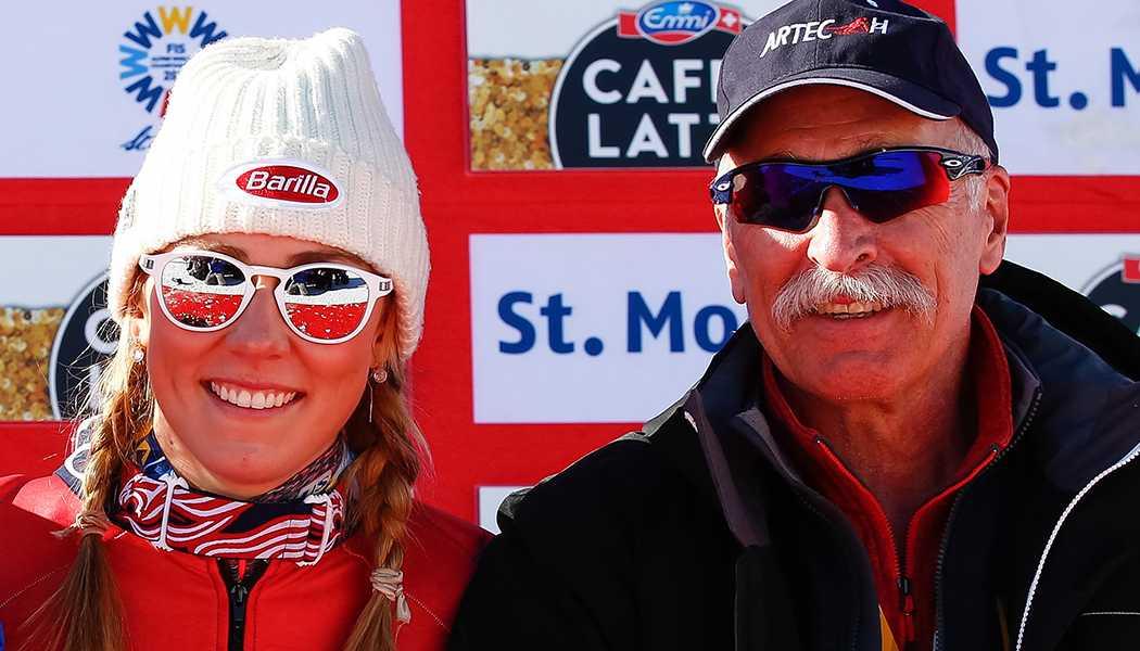 Mikaela Shiffrin med pappa Jeff Shiffrin.