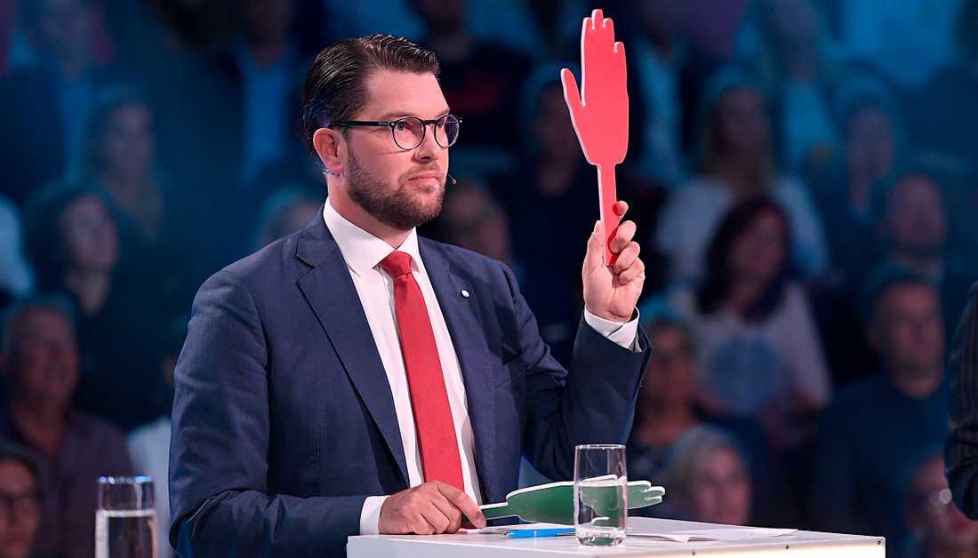 Jimmie Åkesson under Aftonbladets partiledardebatt i måndags.