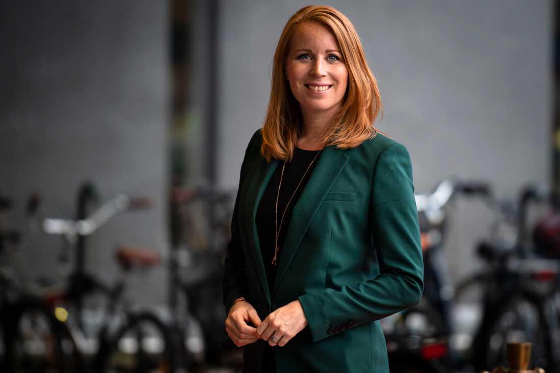 Annie Lööf (C) innan debatten.