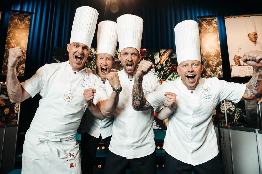 Kockarna Ola Wallin, Alexander Sjögren, Daniel Müllern och Martin Moses har alla gått vidare till andra finaldagen av Årets kock 2019.