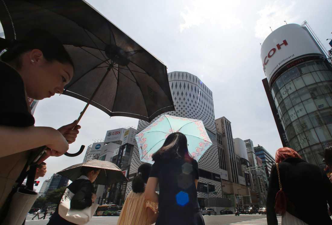 Tokyo hukar i värmen. Bilden är från en varm dag förra sommaren.
