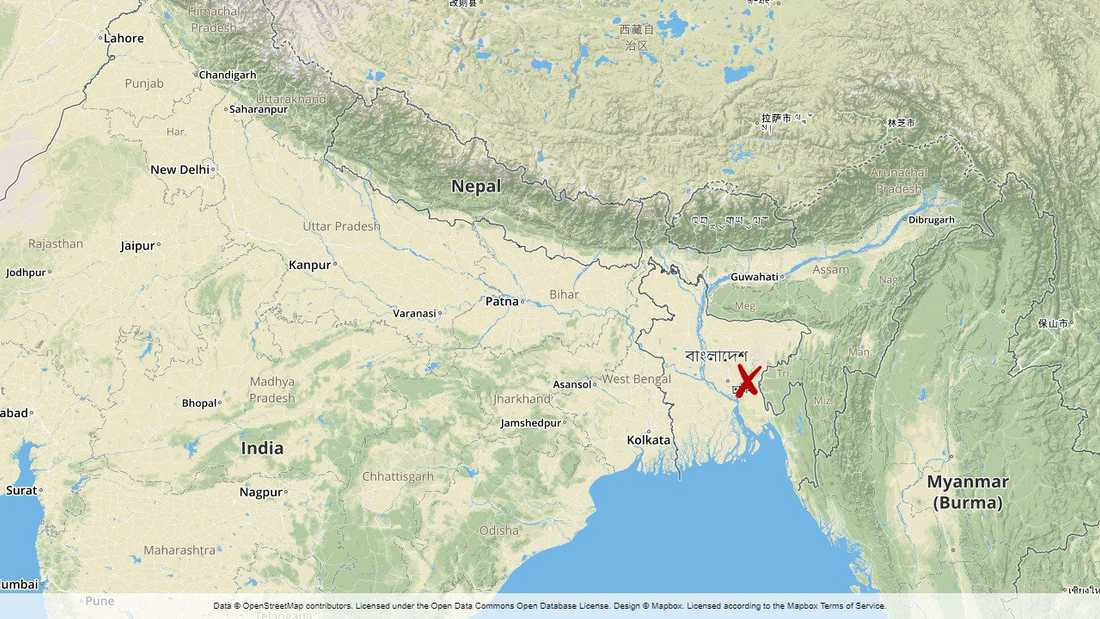 Olyckan inträffade utanför Brahmanbaria i östra Bangladesh.