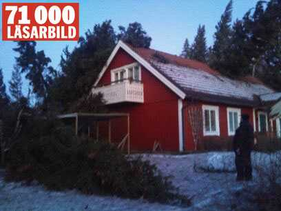 Stormhärjad gårdsplan i Forsa, utanför Hudiksvall.