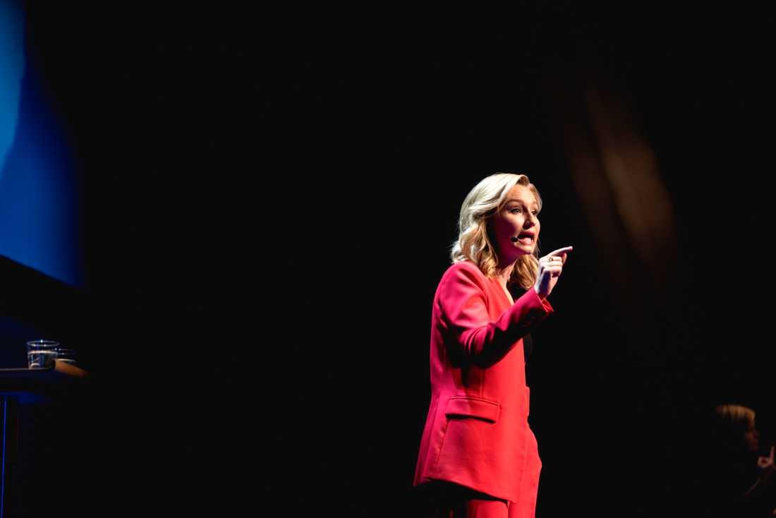 Kristdemokraternas partiledare Ebba Busch Thor (KD) håller tal på KD:s riksting i Umeå.