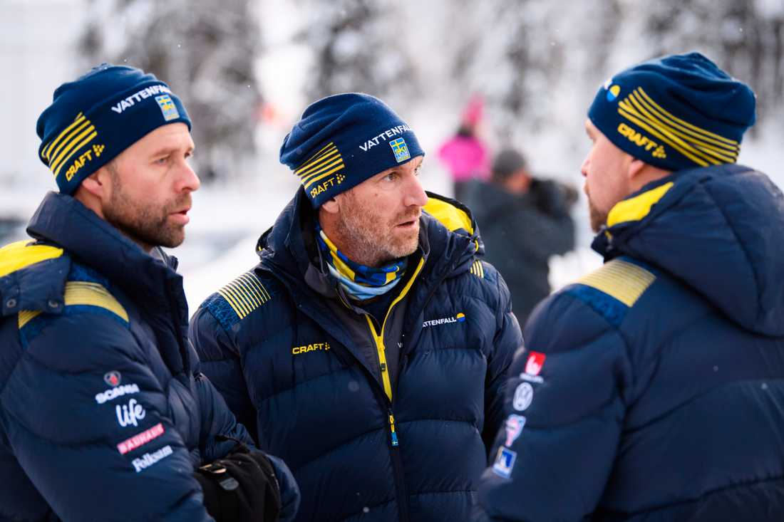 Sveriges damtränare Stefan Thomson, Magnus Ingesson och landslagschef Lars Selin.