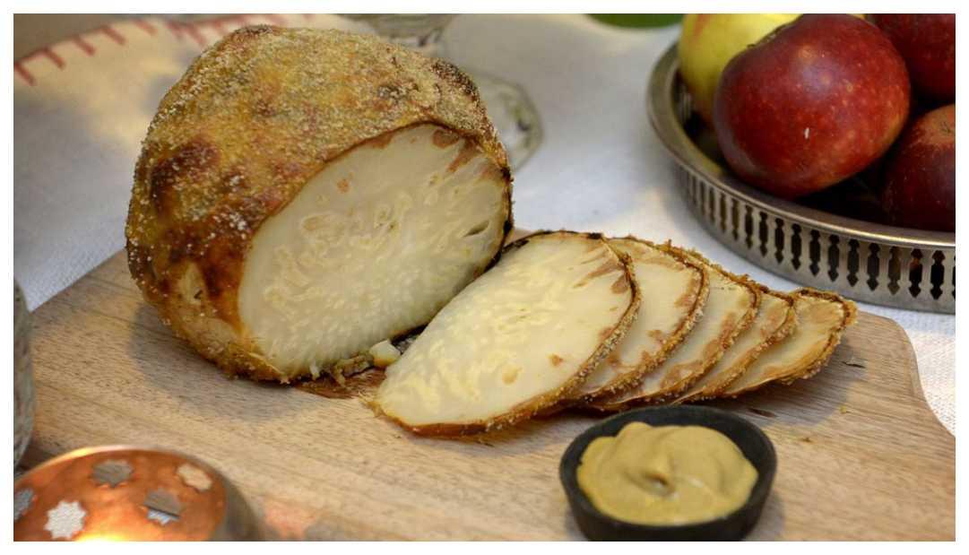 Senapsgriljerad rotselleri – vegetarisk julskinka
