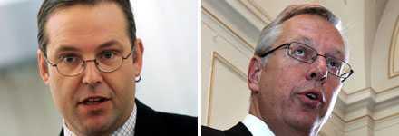 Finansminister Anders Borg (m) och Finansmarknadsminister Mats Odell (kd) höll gemensam presskonferens på måndagsmorgonen där de gav besked om den fördubblade insättningsgarantin.