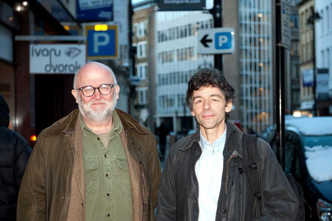 Aftonbladets reporter Svante Lidén och fotograf Peter van den Berg i London.