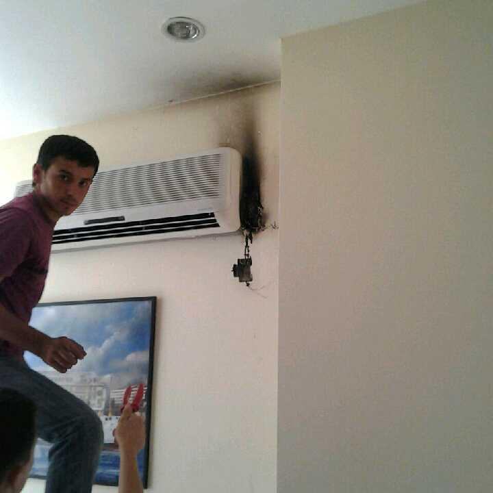 Luftkonditioneringen i receptionen brann.