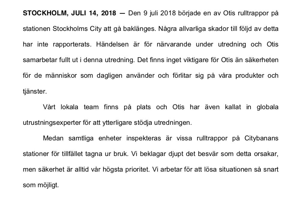 Pressmeddelandet från Otis.