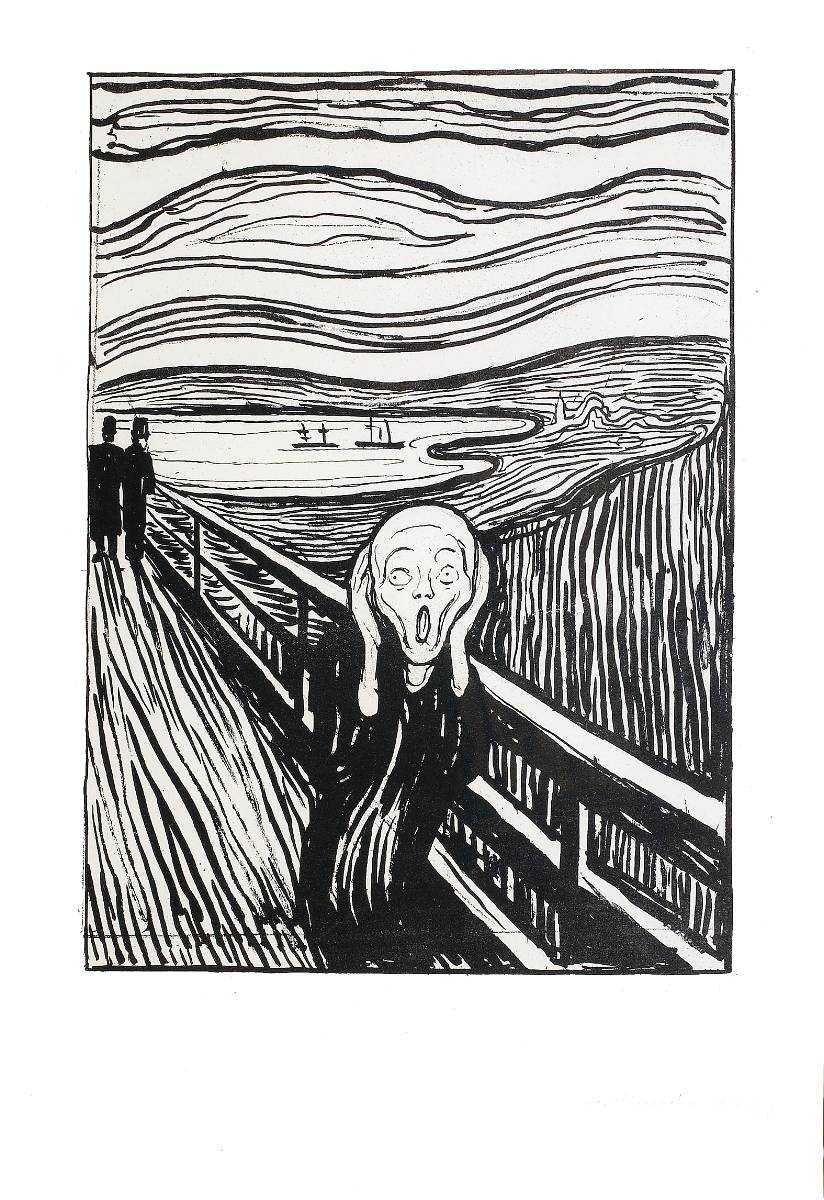 """äntligen thielbaka Munch-utställningen ska locka storpublik till Thielska galleriet igen. Ovan: """"Skriet"""", litografi baserad på Munchs världsberömda målning, 1895."""