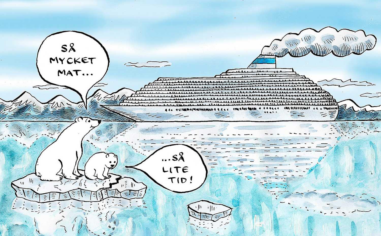 Människor reser till Arktis för att se saker medan det fortfarande är möjligt. Enda sättet att få bukt med jordens temperaturökning är att bli fossilfria – så fort som möjligt.