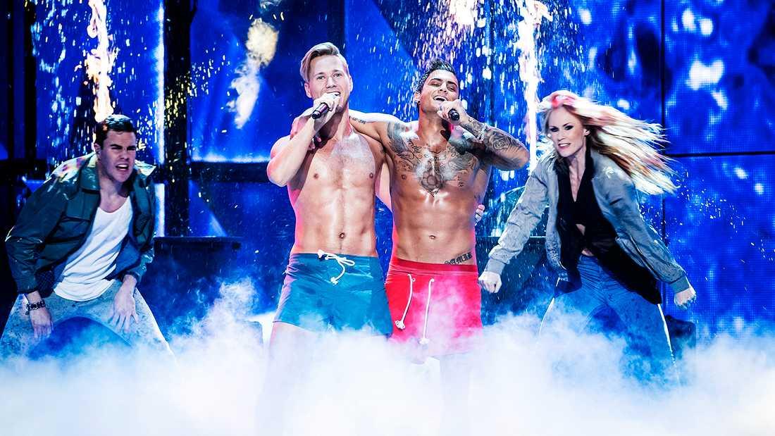 "Samir & Viktor sjöng ""Bada nakna"" i Melodifestivalen 2016."