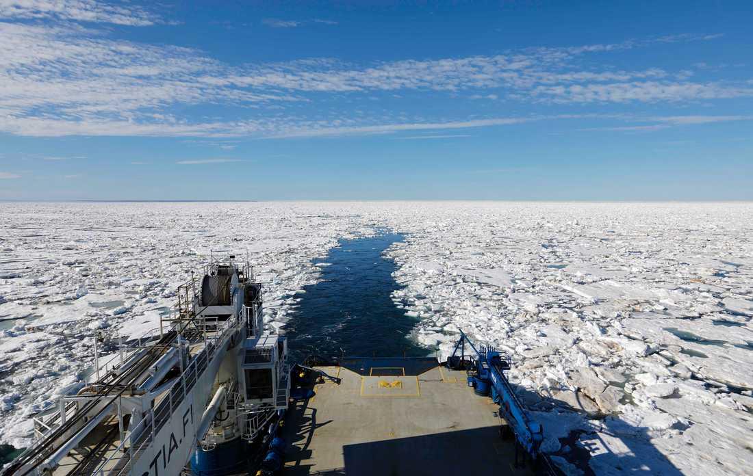 Den finländska isbrytaren MSV Nordica lämnar en isfri ränna efter sig när den går genom norra ishavet i Arktis. Redan nu är det möjligt för specialbyggda containerfartyg att gå utan isbrytare genom delar av Arktis. Arkivbild.