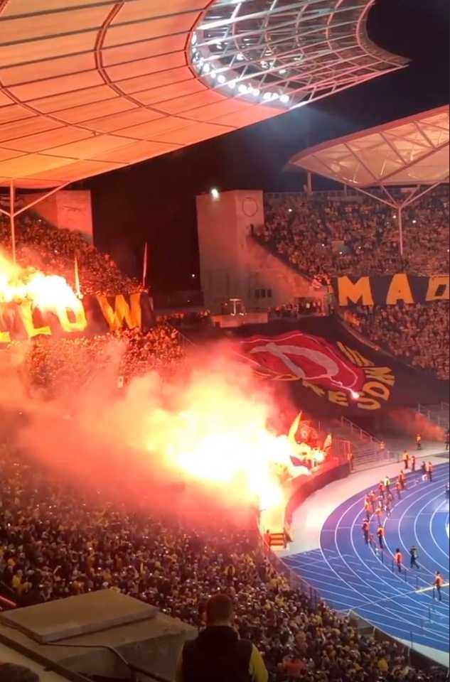 Dyanmo Dresden tifo inför cupmatchen.