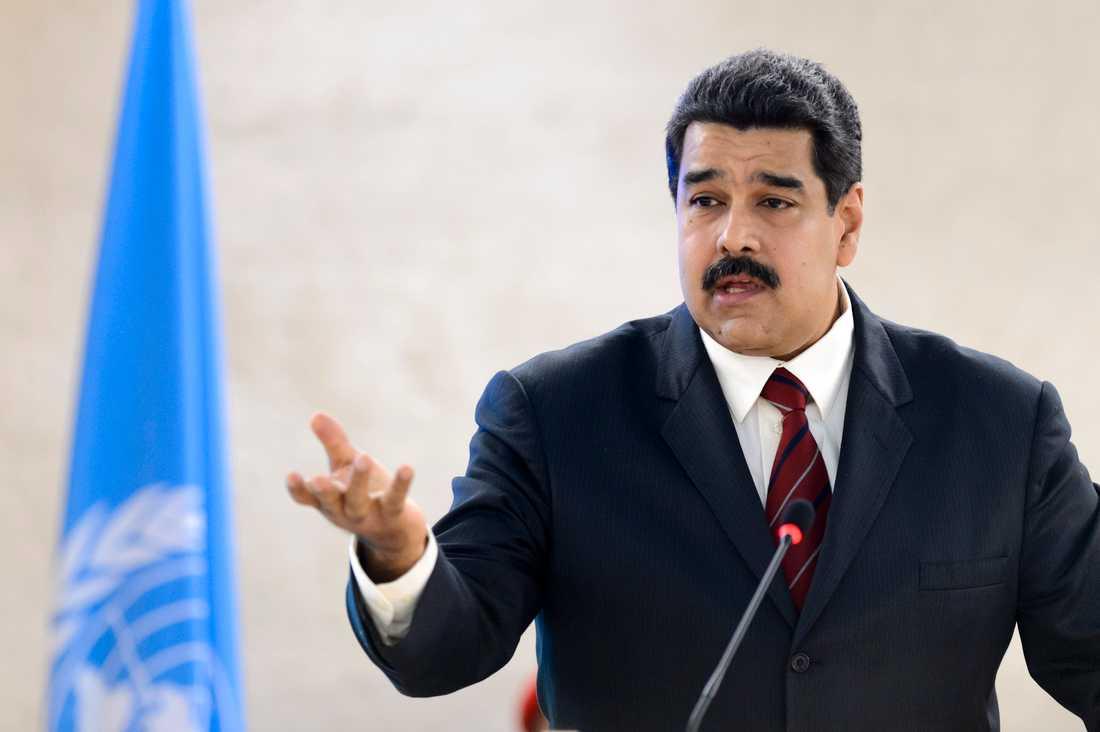 Venezuelas ledare Nicolás Maduro i ett tal inför FN:s råd för mänskliga rättigheter 2015. Arkivbild.