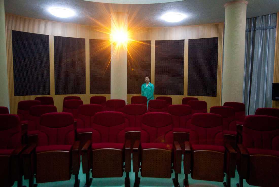 En föreläsningssal i Pyongyang som förevisades journalisterna.