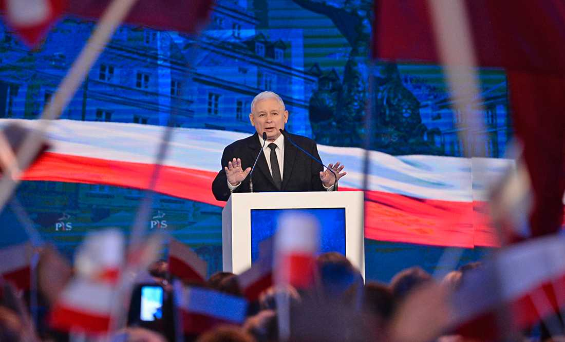 Jaroslaw Kaczynski, ledare för styrande Lag och rättvisa, under ett tal i september.
