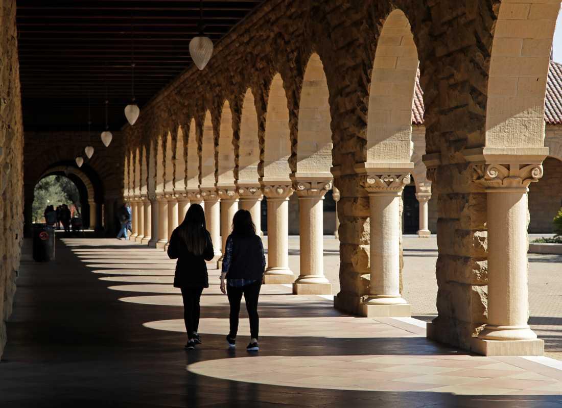 Campus vid universitetet Stanford i Kalifornien, ett av de universitet som utreds av amerikanska myndigheter gällande den härva där föräldrar misstänks ha betalat mutor för att få sina barn antagna. Arkivbild.