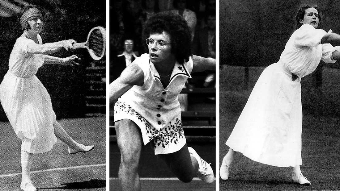 Suzanne Lenglen (till vänster), Billie Jean King (mitten) och May Sutton (höger) har alla tre varit stora föregångare när det gäller tennisen och dess utveckling, både ur kvinno- och modeperspektiv.