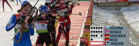 Helena Jonsson skjuter fullt i sista stående skyttet och guldet är i det närmaste klart.