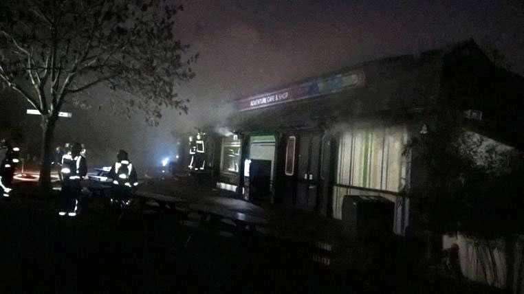 Brand på London Zoo.