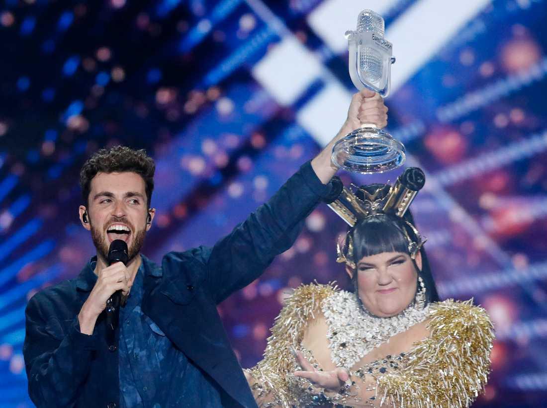Årets vinnare (Duncan Laurence) och fjolårets (Netta Barzilai). Arkivbild.