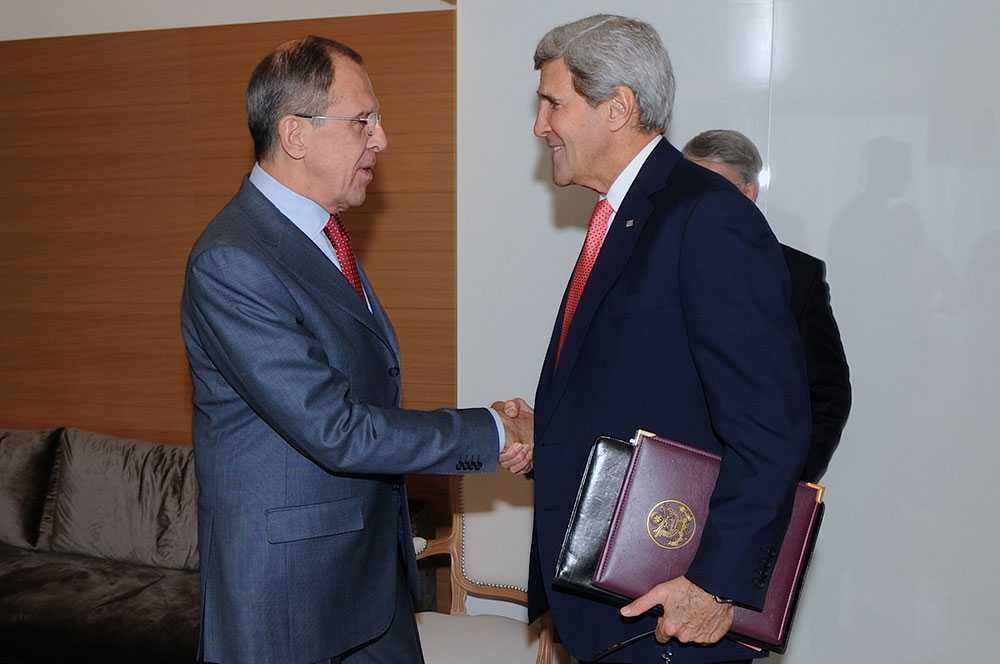 Lavrov och Kerry Rysslands och USA:s utrikesministrar var med under det sista dygnets samtal.