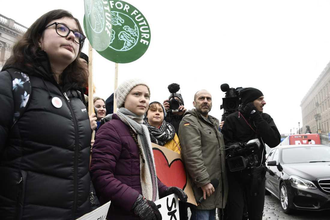 Greta Thunberg på Mynttorget vid Sveriges riksdag.