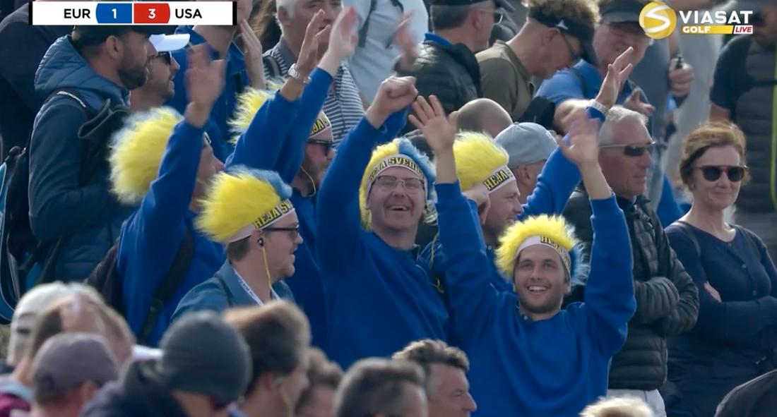 Svenska fans hejar fram Europa.