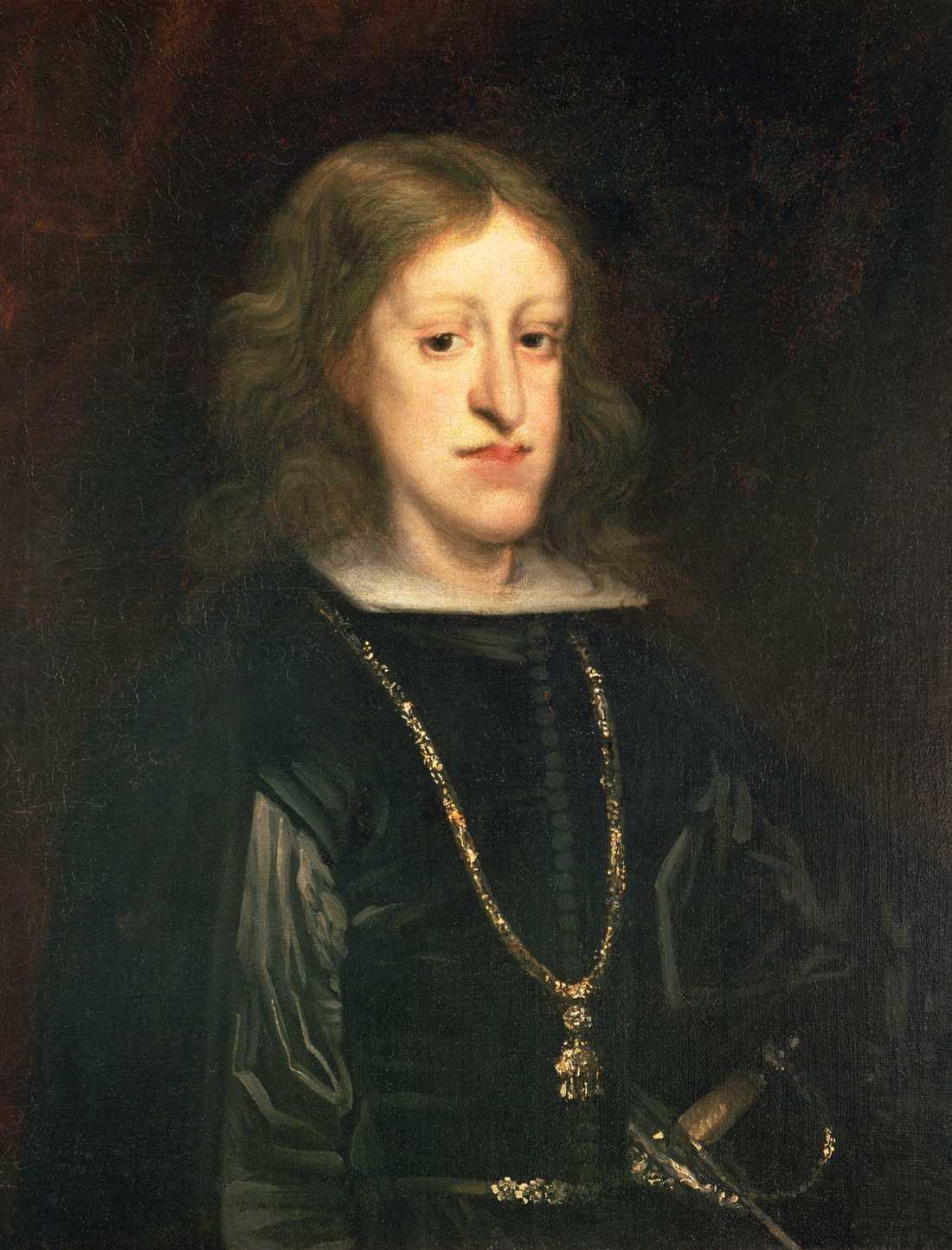 """Karl II av Habsburg hade den karaktäristiska """"habsburgska hakan"""". Han var sedan födseln mycket sjuklig och kunde inte få några barn, vilket gjorde att den spanska grenen av huset Habsburg dog ut med honom år 1700."""