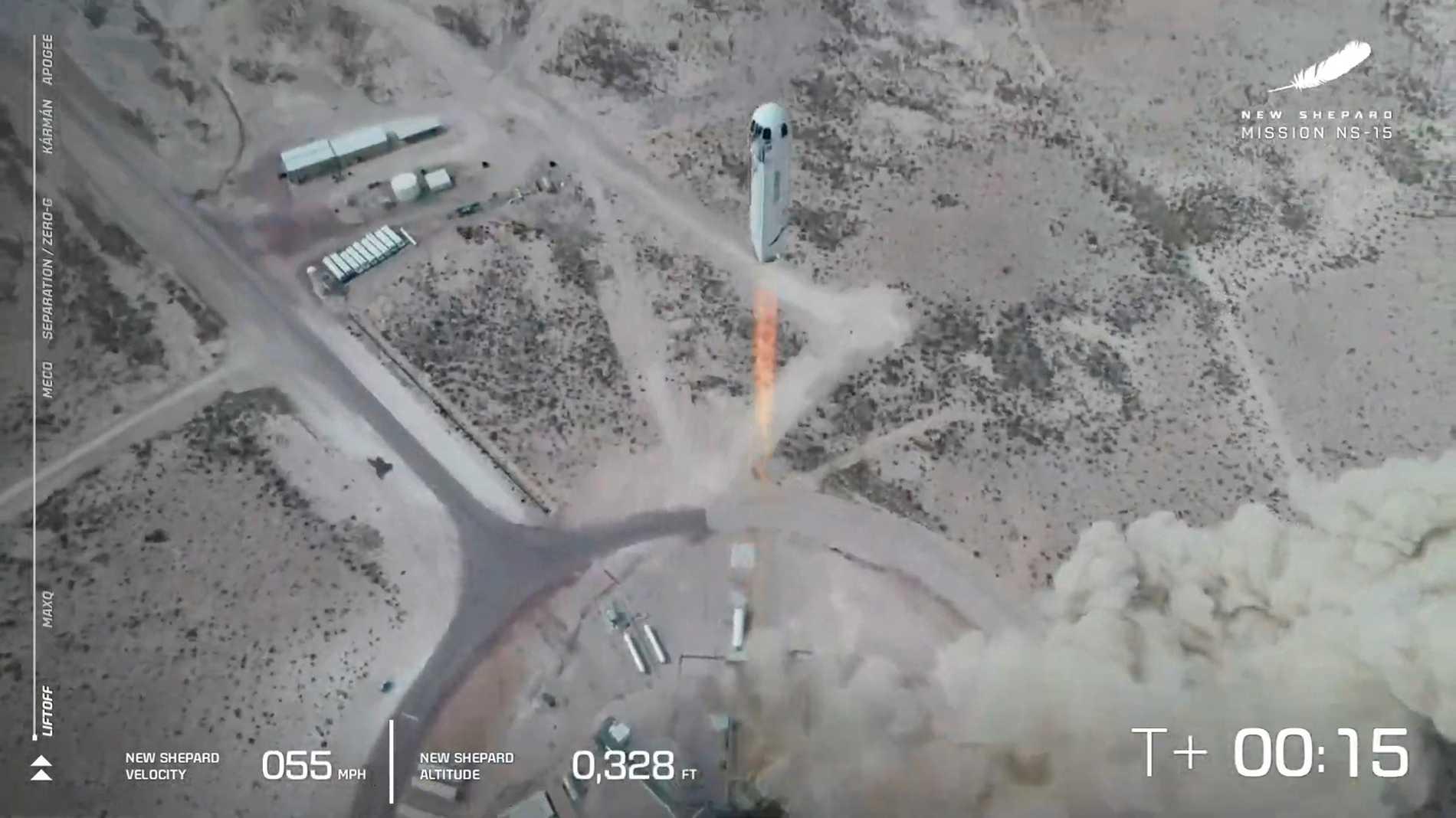 """Rymdraketen """"New Shepard"""" lyfter i ett test i Texas, 14 april i år."""