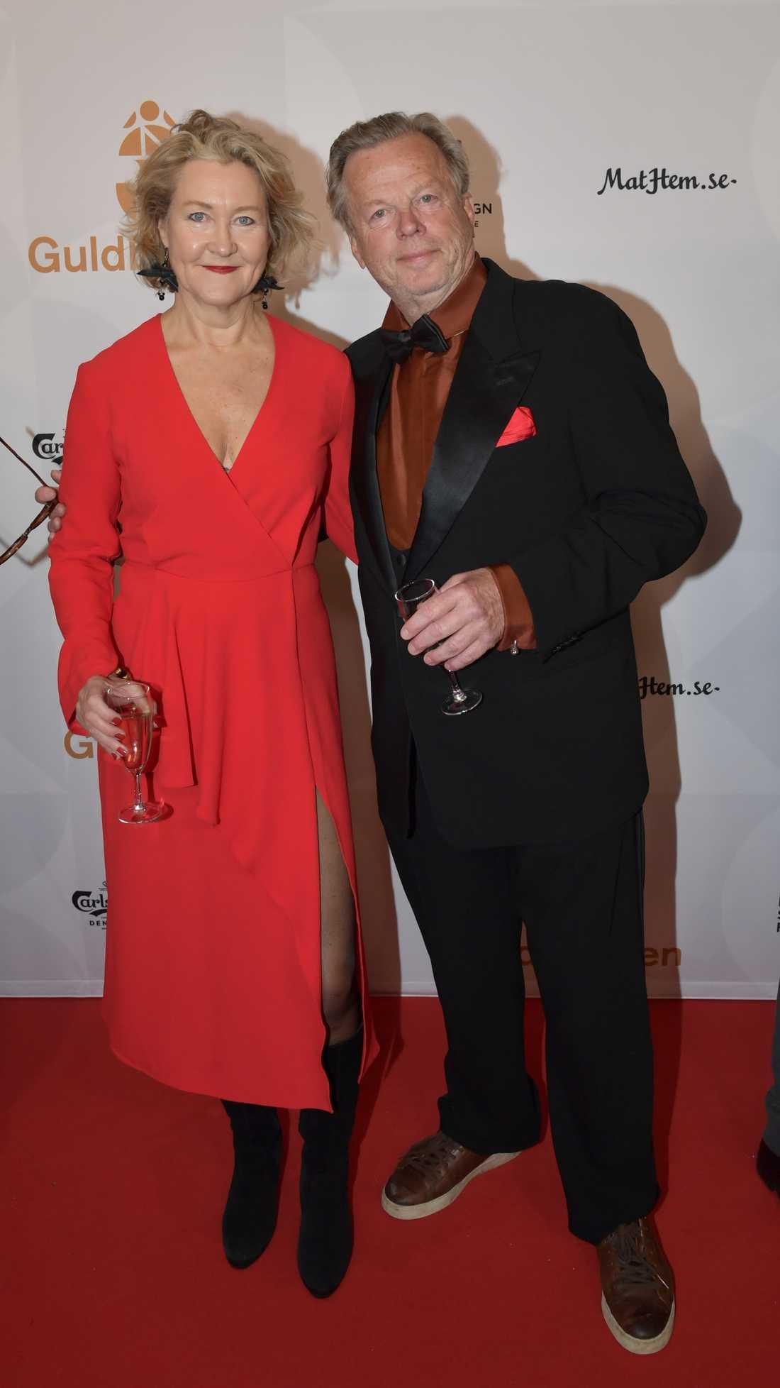 Krister Henriksson och Cecilia Nilsson tillsammans på Guldbaggegalan.