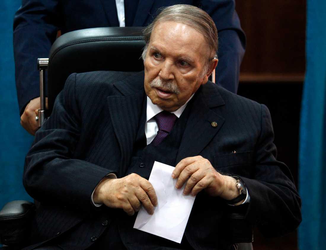 Abdelaziz Bouteflika, här vid ett av sina senaste offentliga framträdanden, i maj 2017. Arkivbild.