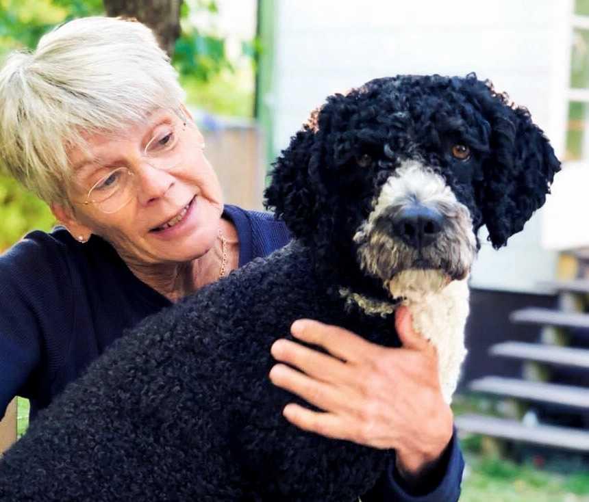 """Maj-Britt Franzén med sin hund Zacko som kallas för Socco på grund av sina fyra vita tassar. Han har varit med Maj-Britt flera gånger på jobbet för att hjälpa unga att öppna upp och våga prata om svåra saker. """"Det är som om han vet att han har en uppgift att fylla när han är med""""."""