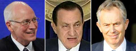 Forna amerikanske vicepresident Dick Cheney hyllar Hosni Mubarak. Såsom Storbritanniens förre premiärminister Tony Blair.