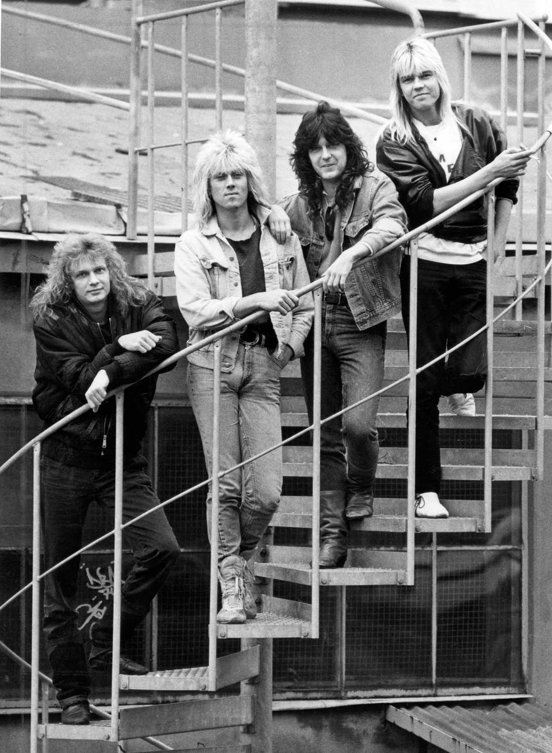 1986 Tommy Nilsson, längst till vänster, var sångare i svenska pudelrockbandet Easy Action.