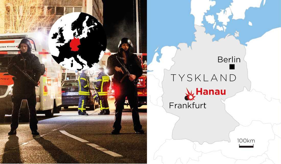 Nio människor har dödats i skottlossningar vid två vattenpipebarer i staden Hanau, öster om Frankfurt.
