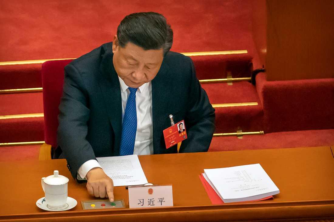 Kinas president Xi Jinping ska under måndagen träffa EU:s högsta ledning i ett toppmöte via webben. Arkivfoto.