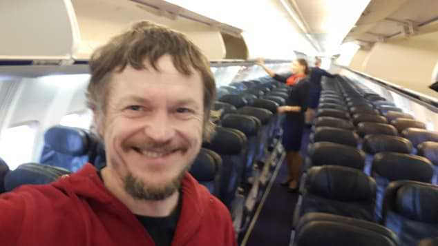 Skirmantas Strimaitis var den enda passageraren ombord på en 737-800 med plats för 189 resenärer.