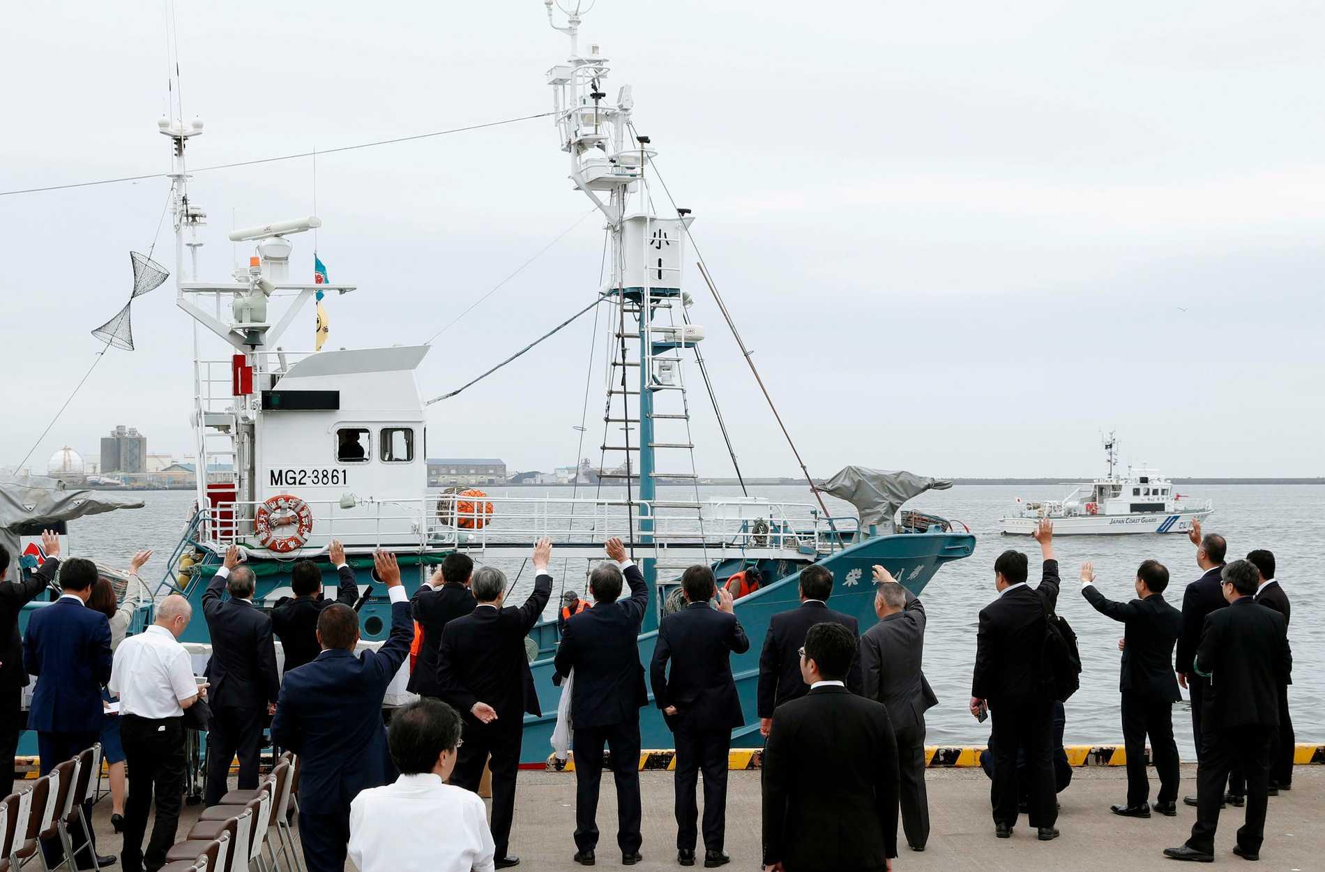 Ett valjaktsfartyg vinkas av i hamnen i Kushiro i norra Japan.