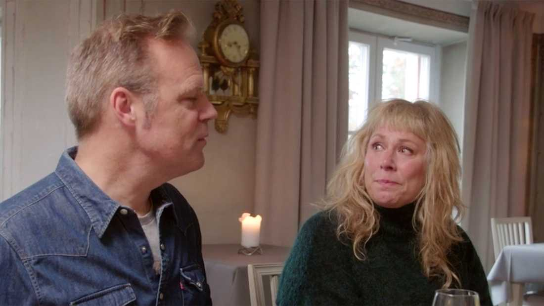 """Stina Wollter och maken Micke Olsson i """"Tillsammans med Strömstedts""""."""