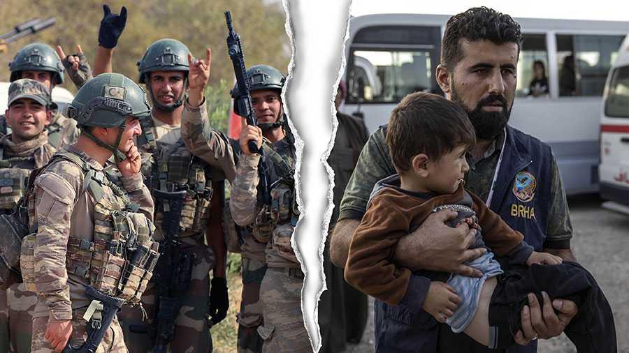 Vår bedömning är att den turkiska militära offensiven i Rojava bryter mot FN-stadgans våldsförbud och strider mot folkrätten, skriver 17 forskare i folkrätt. På bilden turkiska soldater i Syrien och flyktingar från Rojava i Syrien som anländer till ett flyktingläger vid syriska gränsen i Irak.