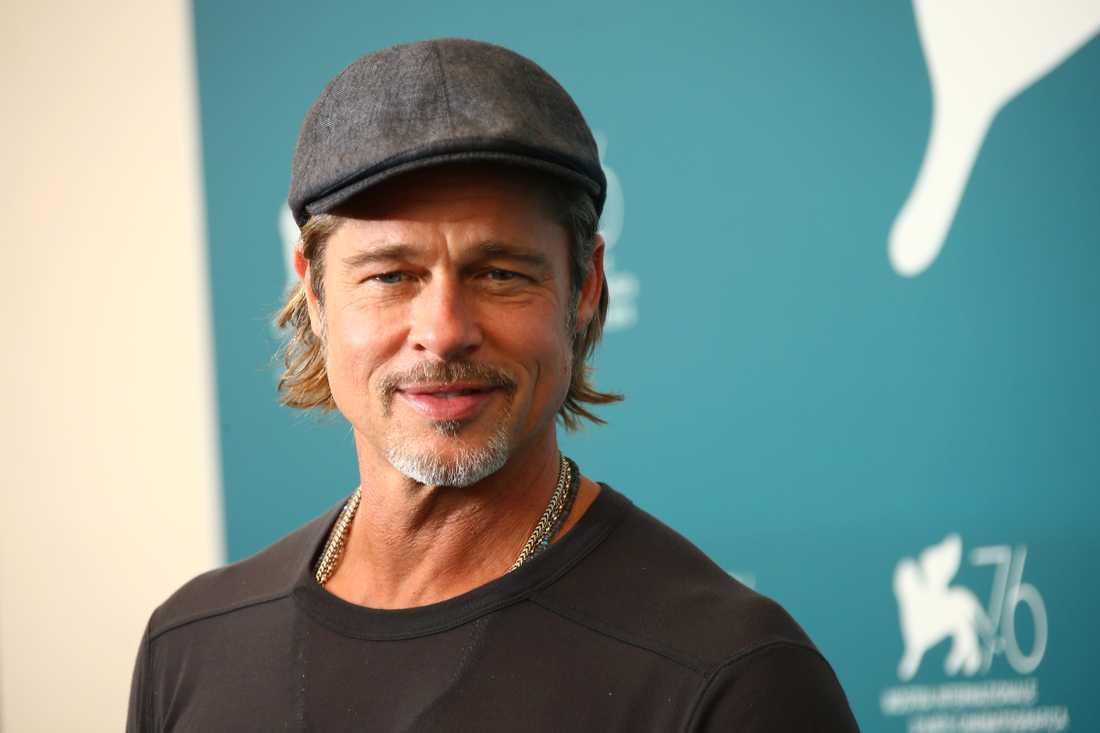"""Brad Pitt under presskonferensen för filmen """"Ad Astra"""" i Venedig."""