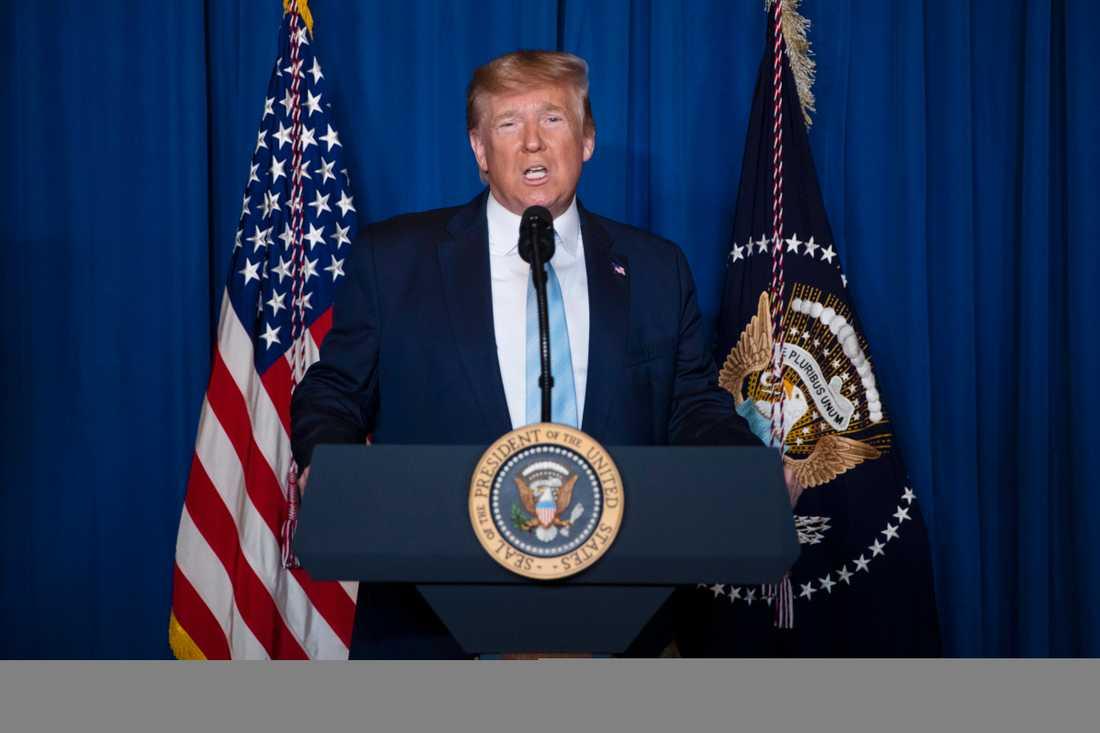 USA:s president Donald Trump uttalar sig om situationen i Iran 3 januari.