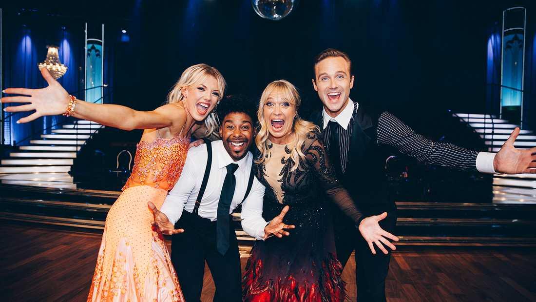 """""""Let's dance""""-finalisterna Linn Hegdal, John Lundvik, Sussie Eriksson och Calle Sterner."""