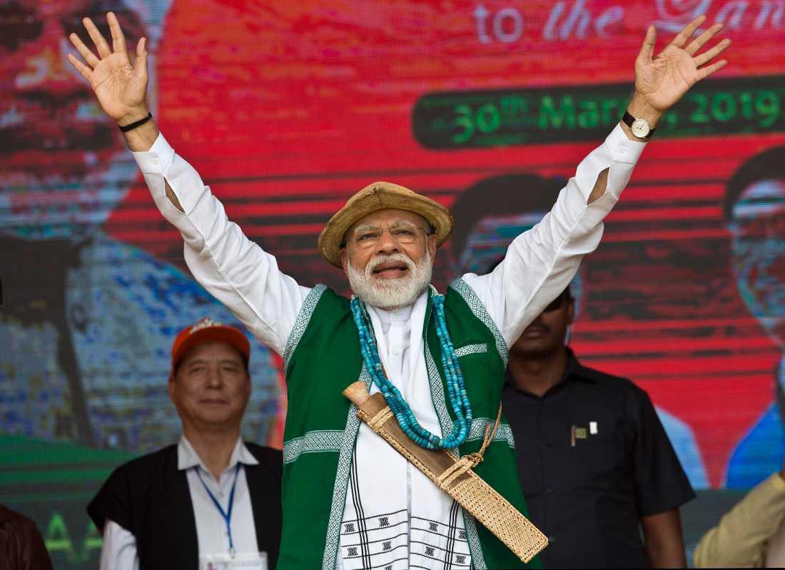 Indiens premiärminister Narendra Modi vid ett valmöte i delstaten Arunachal Pradesh. Arkivbild.